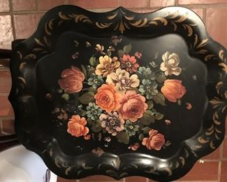 large tole tray with roses