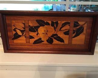 inlaid magnolia wooden tray