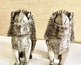 "$120 Pair Lion figures 8"" High  Pair weighs 94.5 ounces"