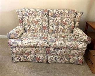 2 love seats in pastel floral fabric. Cute and comfy! No need to buy both, if one will do!