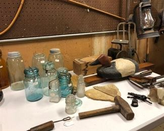 Fruit jars and old tools. Some quite unusual pieces.