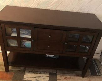 Table- with drawers & glass cabinet