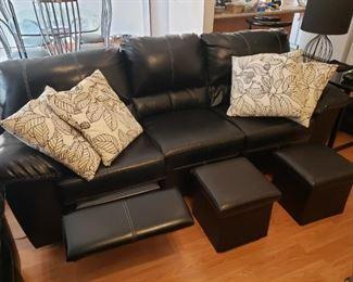 Sofa, pillows and small ottomans