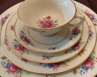 #1106B - Vintage Lenox Rose China set. 12 dinner plates, 6 salad plates, 8 dessert plates, 11 cups, 12 saucers. $325