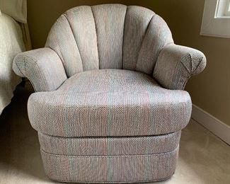 #1132E  Channel back upholstered swivel chair $150