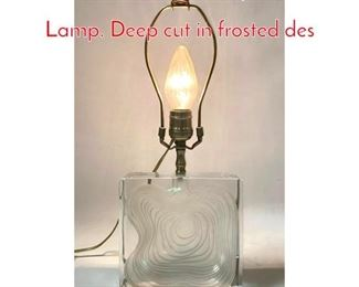Lot 4 DAUM France Crystal Table Lamp. Deep cut in frosted des
