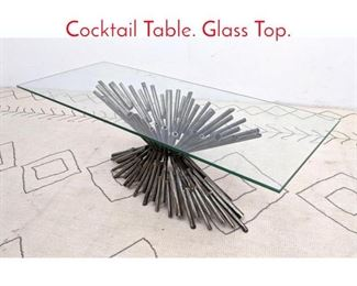 Lot 3 Brutalist Welded Tube Coffee Cocktail Table. Glass Top.