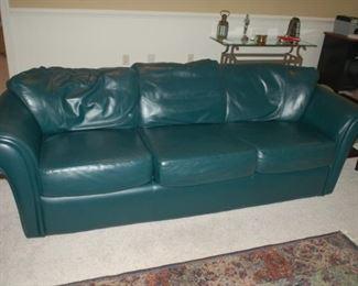 "Blue leather sofa, Krause Castro, 88"" W x 37"" D x 28"" H"