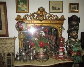 Gorgeous Victorian Gilt Mantle Mirror with Bust