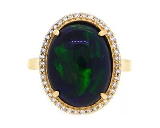 Black Opal Diamond Ring