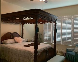 Beyond Gorgeous handed craved Indonesian 5 piece bedroom set with Beauty Rest mattress in mint condition covered. Original price paid 10,000 selling for 3,000 OBO if you do not need the mattress only the bedroom set 2,500  OBO.