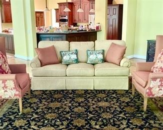 Henredon sofa and  wing back chairs