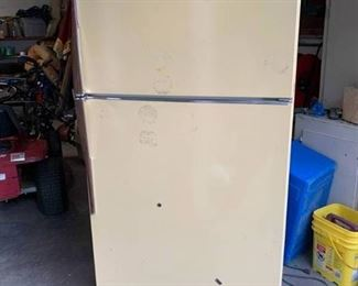 "Vintage GE Yellow Refrigerator | Works! | 66"" T x 32"" W"