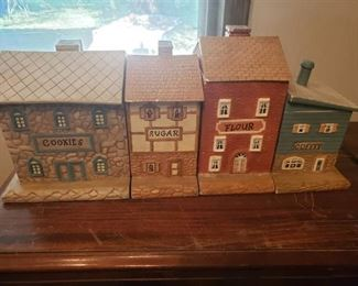 Lot of 4 Ceramic Building Figural Storage Containers/Canisters