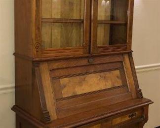 Walnut Drop Front Secretary Bookcase