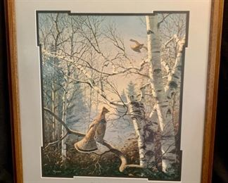 "SET OF 6 FRAMED MISTY MORNING SERIES ""Misty Morning Ruffed Grouse"" by David Maass 25"" x 28"""