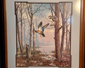 """CLEARANCE  !  $1,200.00 NOW, WAS $3,000.00.............SET OF 6 INCREDIBLE FRAMED MISTY MORNING SERIES INCLUDE 5 FOLLOWING PICTURES """"Misty Morning Wood Ducks"""" by David Maass 25"""" x 28"""" (T007)"""