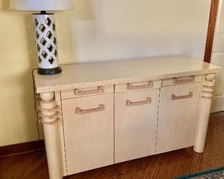 "$495 - Three drawer modern server; 60""W x 22""D x 34""H; Minor ding on top, otherwise very good condition."