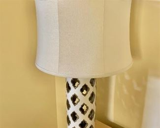 "$175 - Ceramic lamp with silk shade; 31"" high"