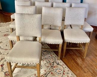 "$250 each - Only 2 chairs left!  Restoration Hardware Upholstered chairs; linen fabric, hobnail trim; 36""H x 18"" W x 18"" D.  Seat height approx 18""."