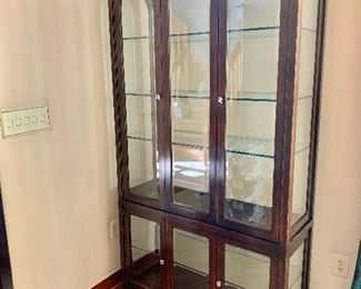 "$450 - Lighted glass shelved cabinet - 82.5""Hx42""Wx15'5""D"