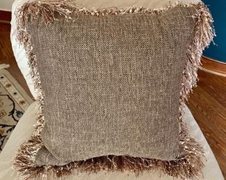 "$30 - Linen, poly filled pillow with fringe trim; approx 18"" square"
