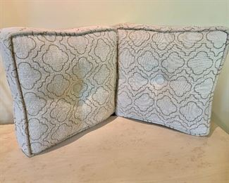 "$80 - Pair of custom square velour print pillows with corded edges and button detail; 17"" x 17"""