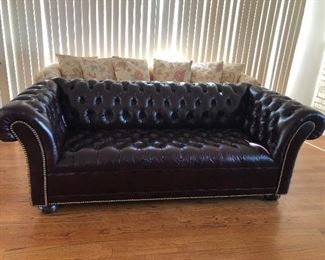 "Deep Mahogany brown Chesterfield style Leather sofa, this tufted, brass studded beauty is 6.5' Long and 3""deep with matching chair separately Sofa $800, Chair $250, as a set $900....BUY IT NOW, this won't be here long"