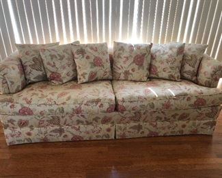 Floral Sofa 7' long 3' deep with 6 back cushions, Good bones, $100 BUY IT NOW