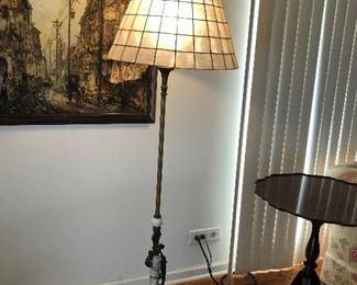 Bronze/Spelter and Marble 1930's Antique Floor Lamp $120 BUY IT NOW