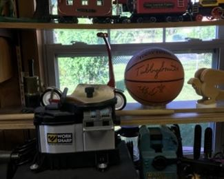 Signed a UK basketball by Tubby Smith, Tool sharpener, old cast iron bank, Trains