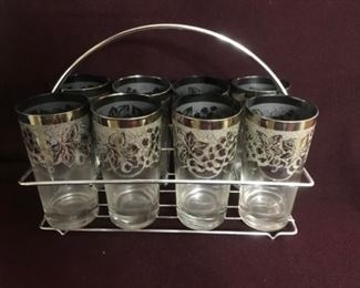 Vintage frosted glasses in carrier.