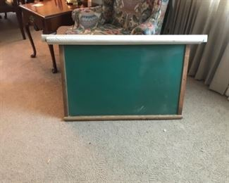 Vintage school chalk board, with pull down projection screen.