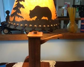 lever control on and off switch wood base lamp with cute shade