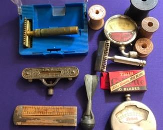 Vintage razors, snap bang toy, levels, and gauges