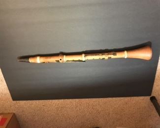 1835-1881 early boxwood clarinet, made by C. Peloubet, famous instrument maker from New York