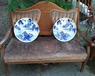 Loveseat and collector plates