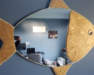 """Model Decoration Gold Mirror in A fish frame. Great to spark up a creative room catcher. 36"""" x 24"""" approximately. $35"""