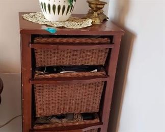 Antique gold desk lamp with off white lampshade, $15, Ceramic Pot decorative plant $15, Beautiful Cherry wood 3 wicker basket storage shelving, tabletop, $45