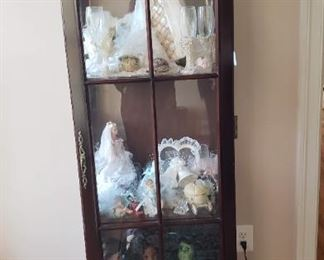 """Dark Cherry wood curio with built-in light, 3 glass shelves 21""""x14