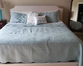 SOLD King Bed and Headboard!! AVAILABLE Floor Mirror oval-shaped. Great accessory to any room $75. Beautiful Teal color ceramic base lamp with floral 3D design and beige lampshade brand new $75.  Solid Cherrywood nightstand with black handles and matching 6 drawer dresser $350.