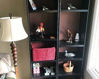Bookshelves and floor lamp