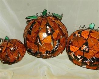 Stained Glass Pumpkins (3 ea)