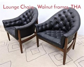 Lot 1000 MILO BAUGHMAN Tufted Lounge Chairs. Walnut frames. THA