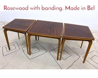 Lot 1002 FABRY 3pc Table Set. Rosewood with banding. Made in Bel