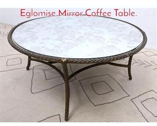 Lot 1003 Cast Aluminum and Eglomise Mirror Coffee Table.