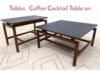 Lot 1004 2pcs JENS RISOM Style Tables. Coffee Cocktail Table an
