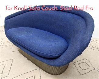 Lot 1005 Rare WARREN PLATNER for Knoll Sofa Couch. Steel Rod Fra