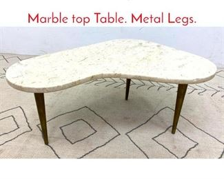 Lot 1006 Mid Century Modern Small Marble top Table. Metal Legs.