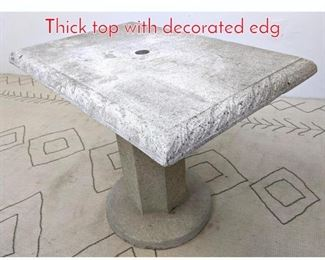 Lot 1009 Cast Stone Pedestal Table. Thick top with decorated edg
